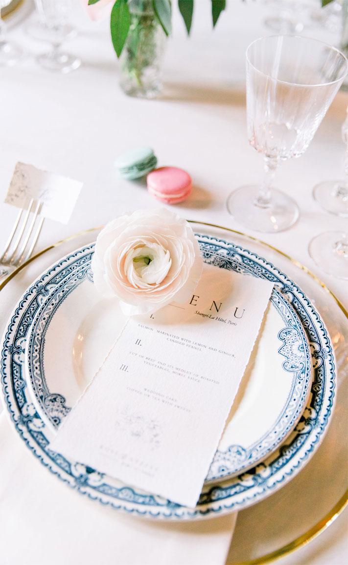 wedding place setting, wedding menu, place setting ideas