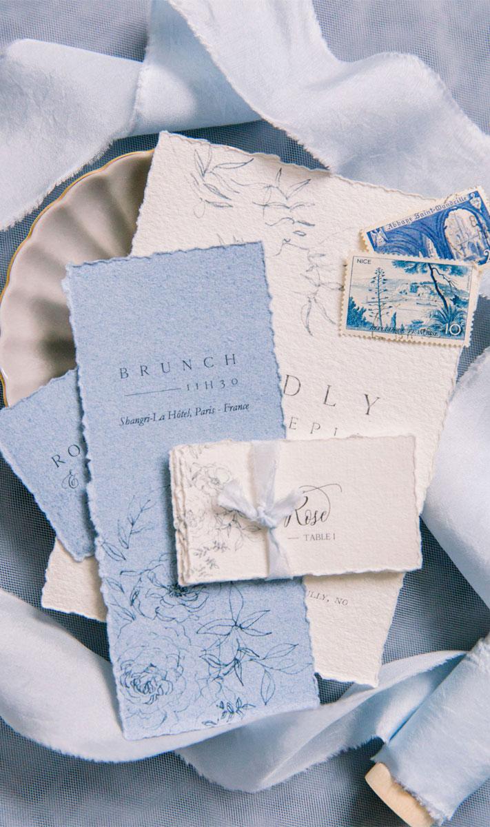 blush and powder blue color palette, powder blue wedding stationery, powder blue wedding invitations, powder blue wedding invites, wedding invites #weddinginvites wedding menu