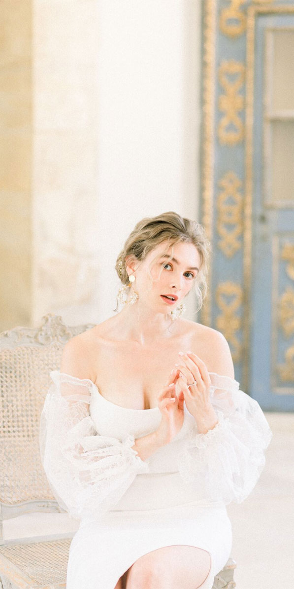 beautiful bride, bride portraits , wedding portraits, off the shoulder wedding dress, french chateau wedding