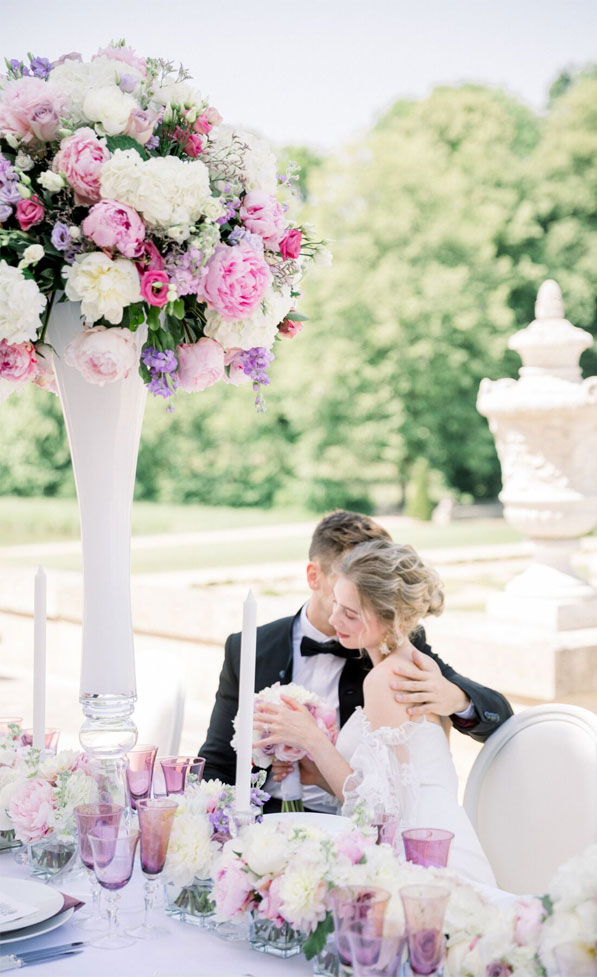 dreamy french chateau wedding, outdoor wedding reception , french chateau wedding, wedding reception decors, tall wedding centerpieces
