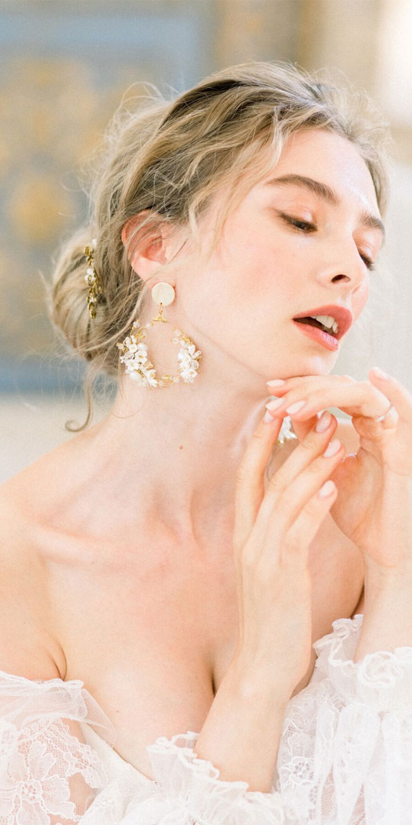 bridal jewelry, bridal earrings, wedding earrings #earrings #bride
