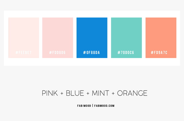 color combos, color combinations, blue and mint color combinations, mint color combinations, pink blue mint and orange color combos #pink #mint #bluemint #color