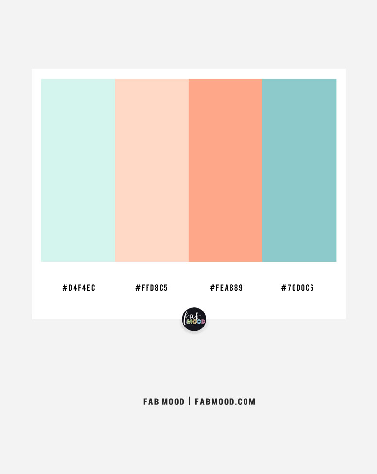 Light blue, peach and blue teal color palette – Color Combo #33