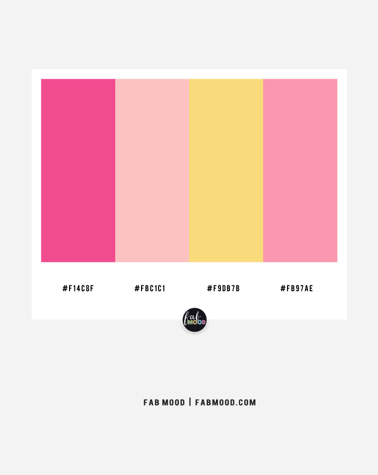 pink color combination, summer color ideas, pink and yellow color scheme, pink color scheme, 4 color combinations with yellow, yellow color scheme, yellow color combo