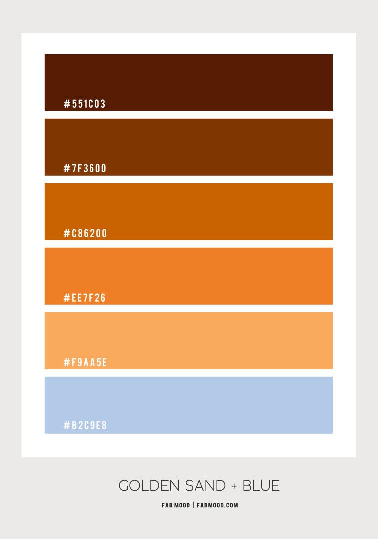 golden sand and blue color scheme, brown gold and blue color scheme, orange brown and gold color scheme, golden sand and blue color palette, golden sand and blue color palette