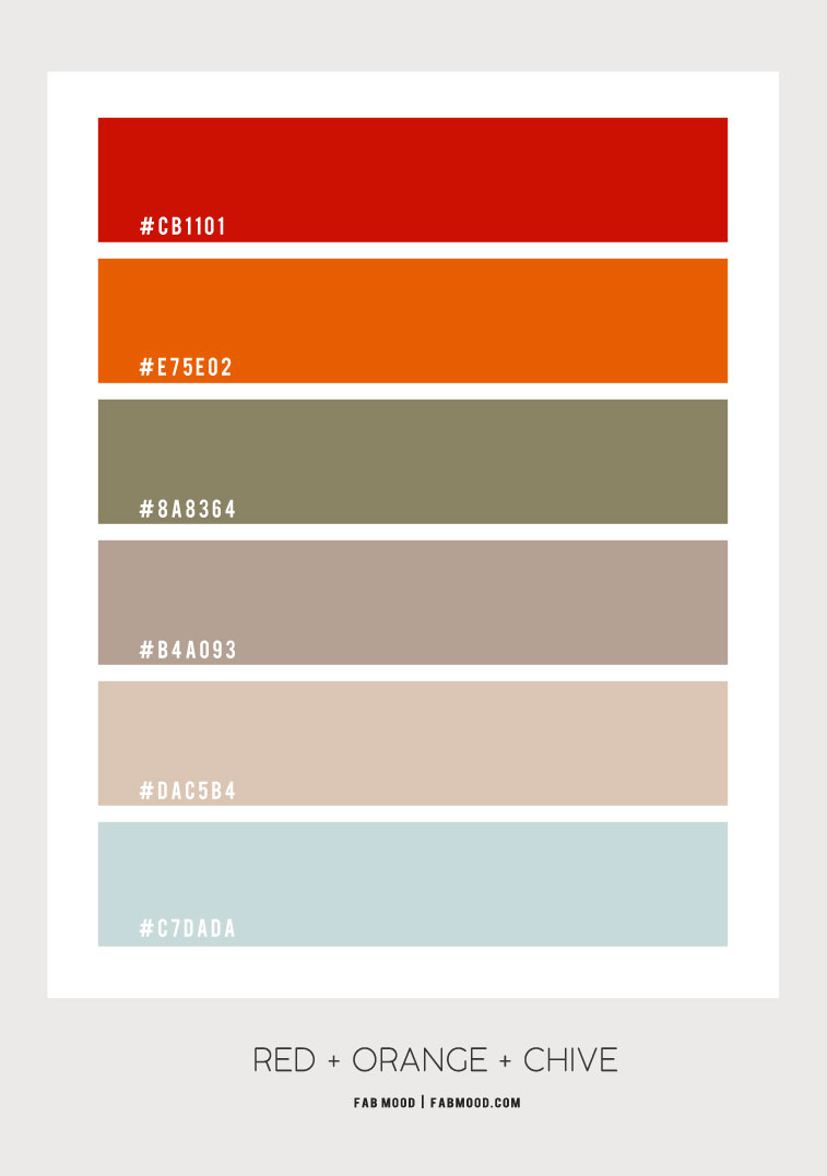 red orange blue color scheme, chive and blue color combo, red and orange color scheme, grey and blue color combo
