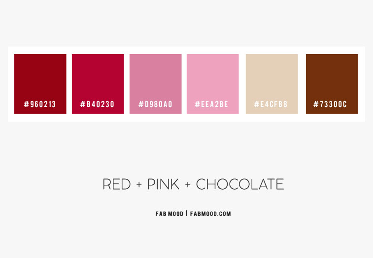 red and pink color scheme, red pink and chocolate brown color scheme, pink and brown color scheme, pink and brown color combinations
