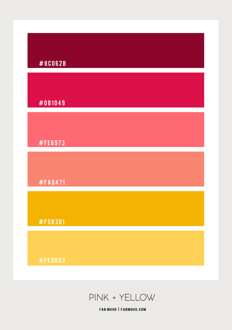 citrus color combo, pink and yellow color scheme, pink and salmon pink color scheme, pink and yellow color combo,