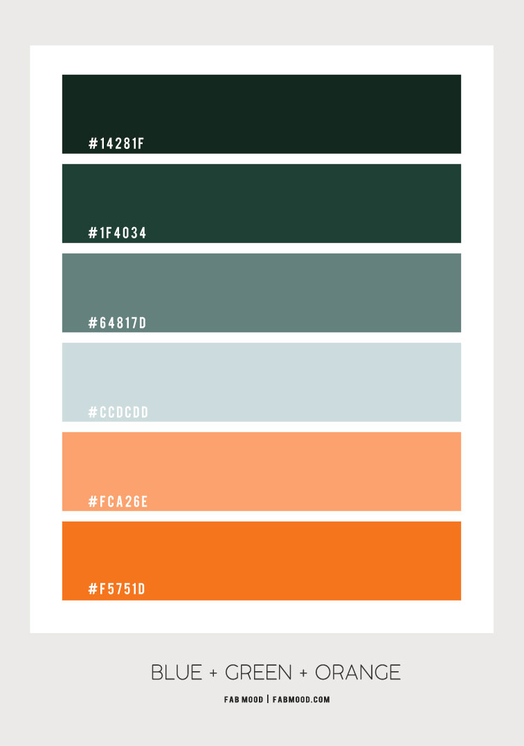 blue green and orange, blue and orange, green and orange, blue green and orange color scheme, green and orange color scheme, orange color combo