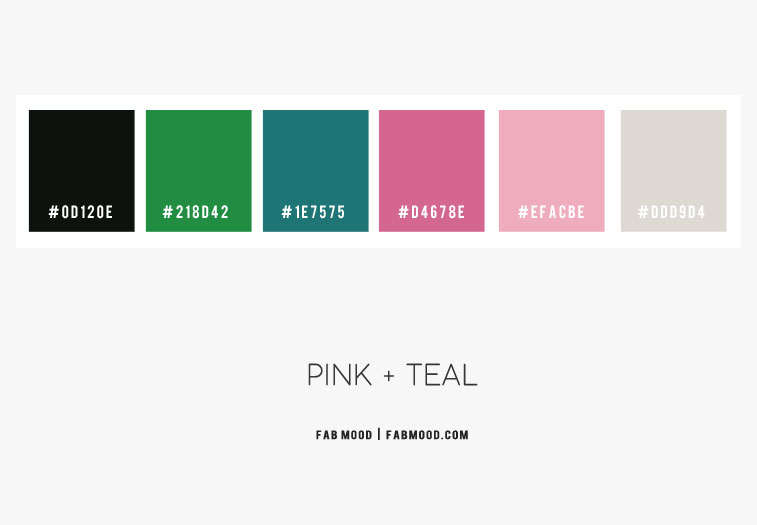 pink and teal color scheme, green grey pink and teal color scheme, teal and pink color combo, pink and teal color palette , color palette, color scheme