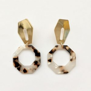 gold coffin jointed hexagon tortoiseshell earrings