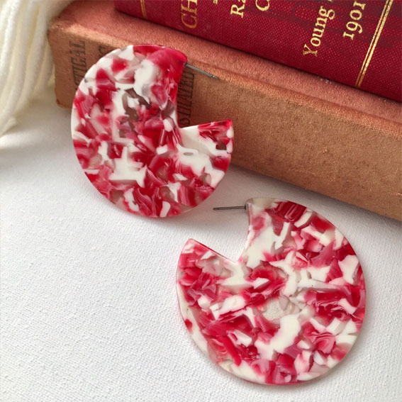 white and red earrings, round earrings