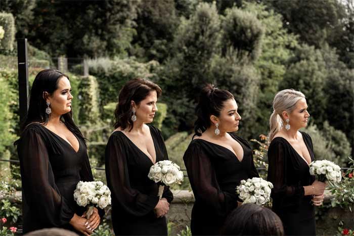 bridesmaids wear black