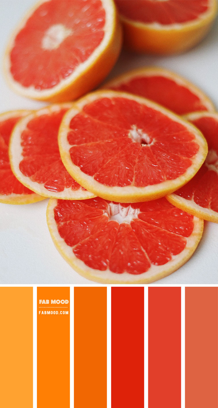 grapefruit color palette, red and orange color scheme, orange and red color combo, red and orange color combination #color #colorscheme