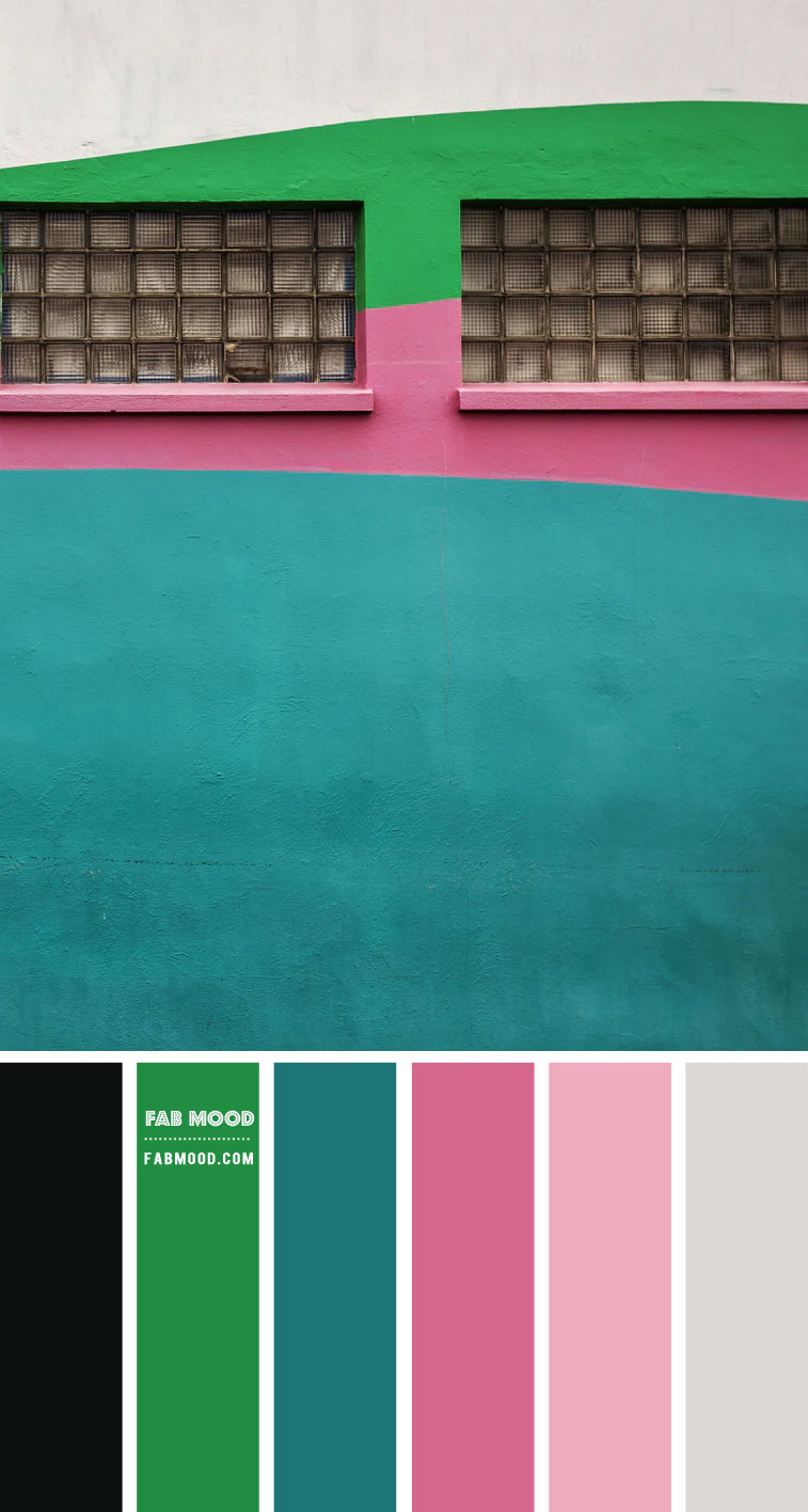 green grey pink and teal color scheme, teal and pink color combo, pink and teal color palette , color palette, color scheme