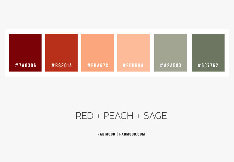 red peach and sage color scheme, peach sage color scheme, color combo, peach and sage color combo, peach and sage color combination