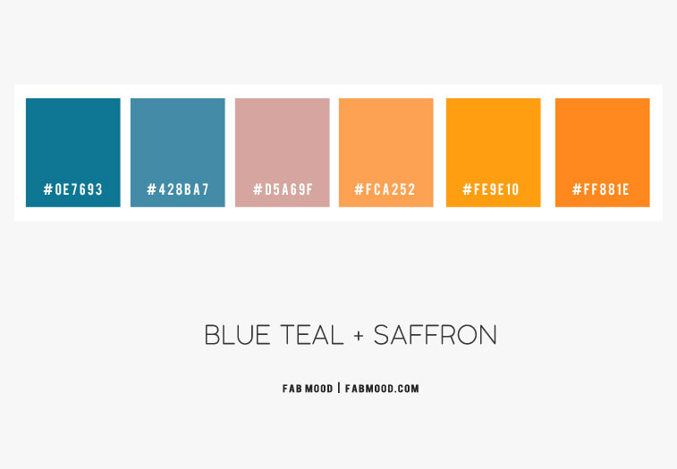 saffron color hex, saffron color scheme, blue teal and saffron color combo, blue teal and mauve, blue teal and turmeric color scheme, color combinations, color combination with saffron