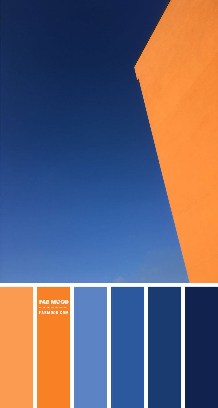 blue and orange color scheme, blue and orange color combo, orange and blue color , blue sky and orange color scheme, blue and terracotta color scheme