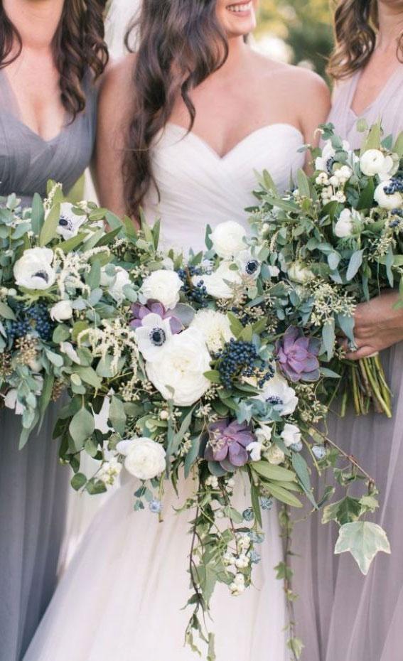 summer wedding bouquet, white bouquet with purple details, summer bouquet , bridal bouquet