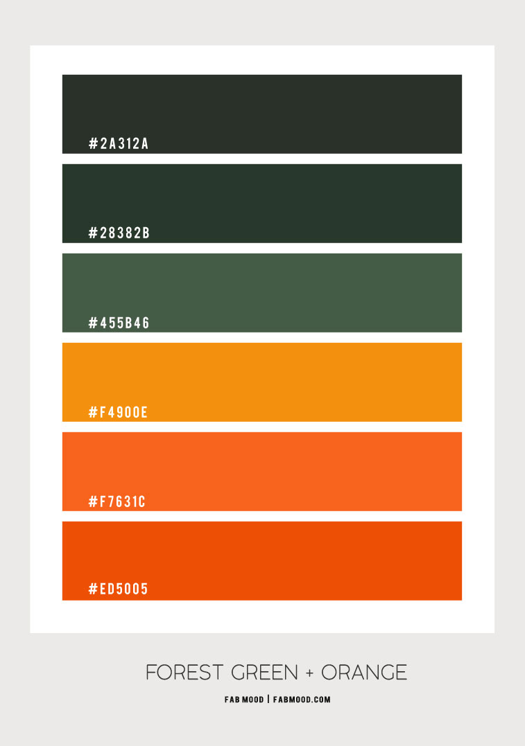 forest green and orange color scheme, forest green and burnt orange color combo, burnt orange color combinations, green forest and mustard color scheme