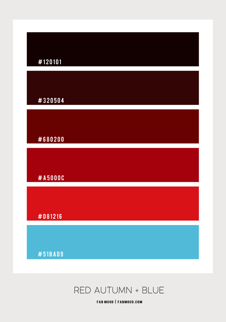 red autumn color scheme, red and blue color combo, red autumn color palette