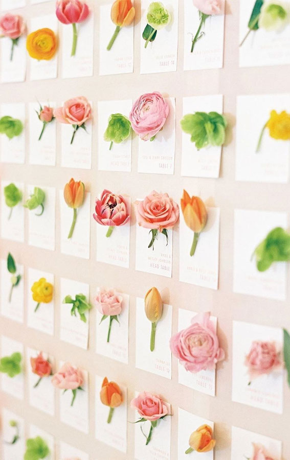 floral escort cards, flower escort cards, fresh floral escort cards, fresh flower escort cards, wedding escort cards