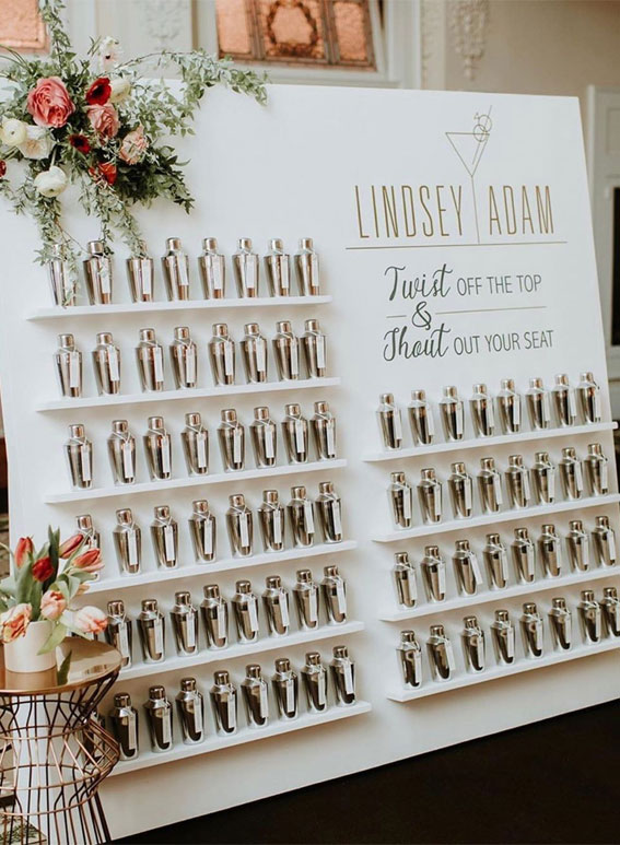 Cocktail shaker escort card wall
