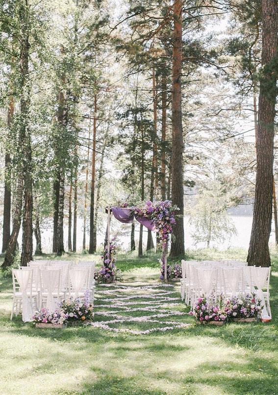 wedding arch decoration ideas, lavender wedding decoration ideas, wedding ceremony decorations