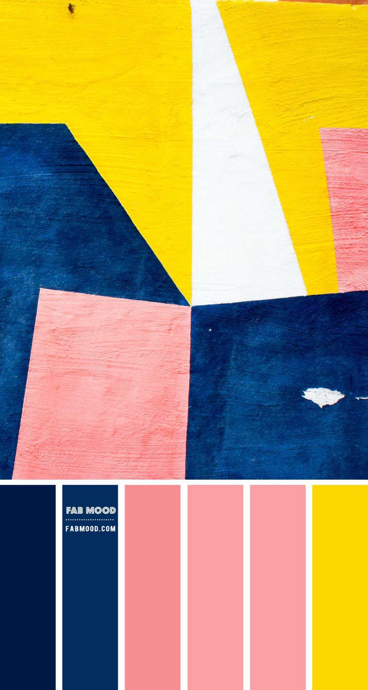 Navy blue, Pink and Yellow Color Scheme – Color Palette #70