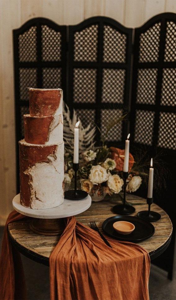 wedding cake, terracotta inspired wedding cake , terracotta table runner