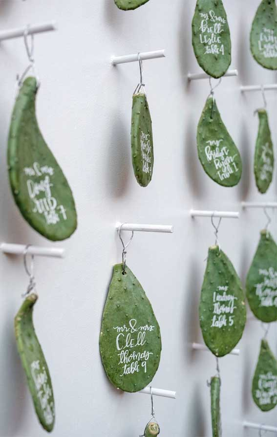 Best Escort Cards & Displays – Hanging prickly pear escort card displays