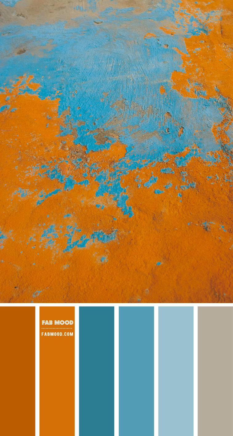 Blue Teal and Pumpkin Colour Scheme – Colour Palette #89