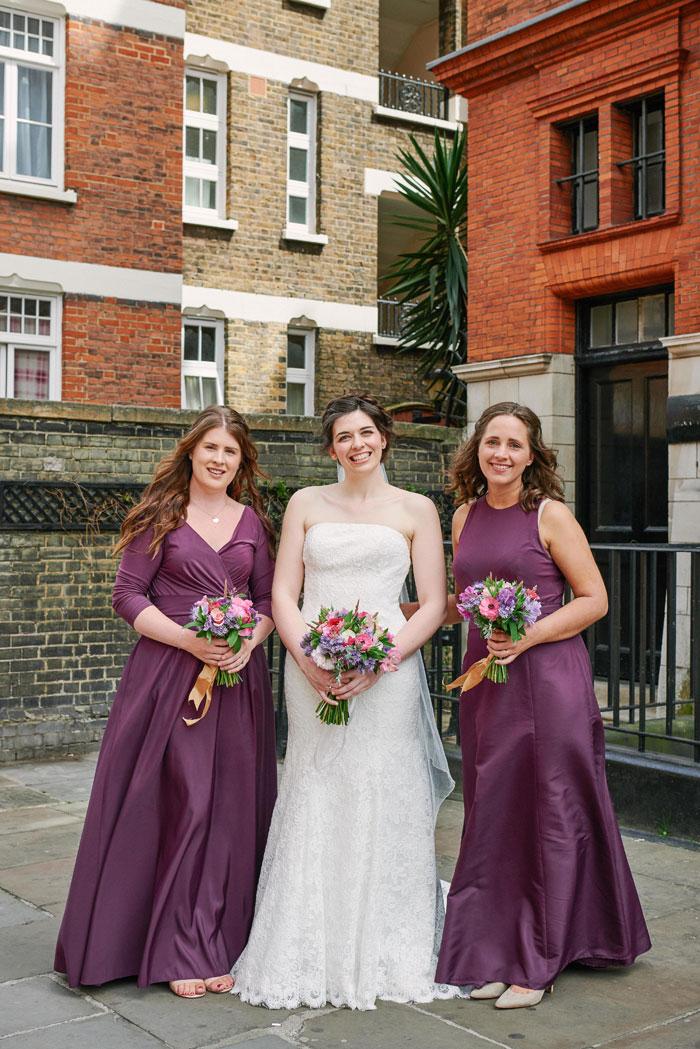 bridesmaid in berry shades, london wedding , mayfair wedding , summer wedding , summer wedding in london, church wedding , july wedding