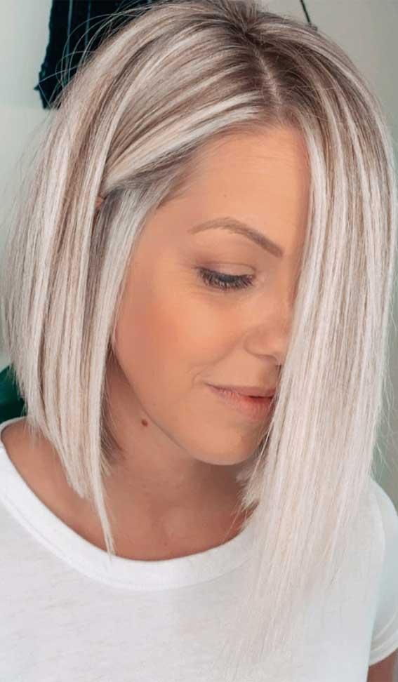 icy blonde lob haircut, icy blonde, lob haircut 2020, lob hairstyle 2020, lob vs bob, lob haircut with layers, bob hairstyles, lob with bangs, blunt bob, blonde lob