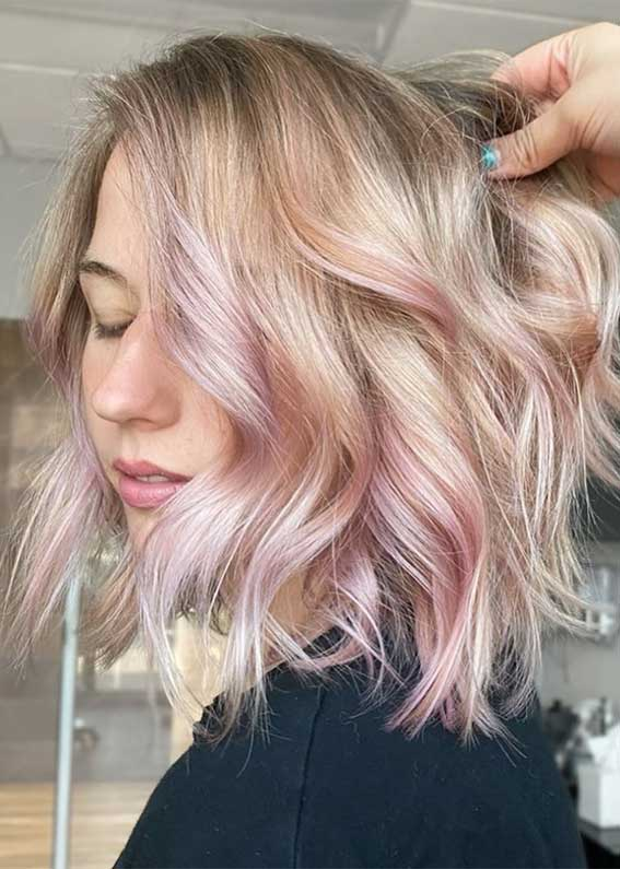 subtle pink hair color, lob waves , lob haircut 2020, lob hairstyle 2020, lob vs bob, lob haircut with layers, bob hairstyles, lob with bangs, blunt bob, blonde lob
