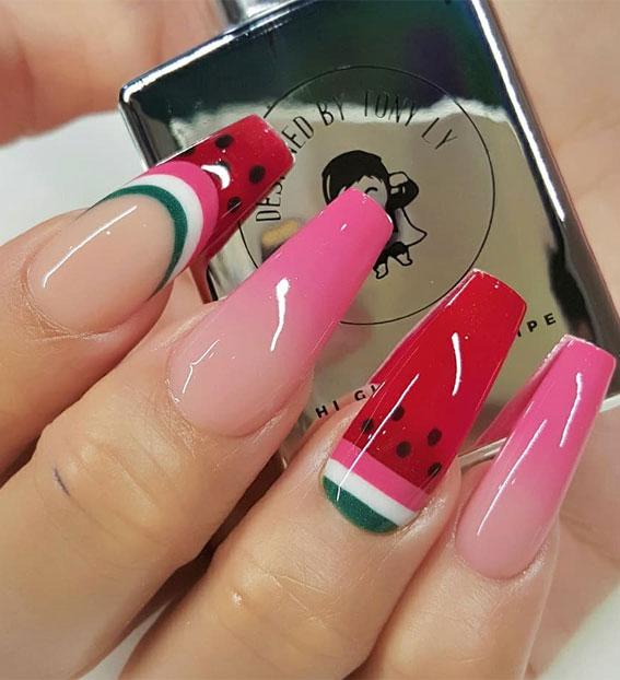 watermelon nail art, watermelon nail designs, watermelon nail polish, easy watermelon nails, summer nail art, watermelon color nails