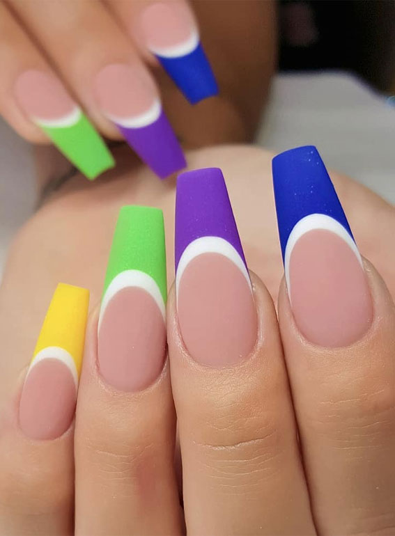 modern french nails, modern french manicure 2020, french manicure 2020, colorful french manicure with design, french manicure styles, french manicure with color,modern french manicure nails
