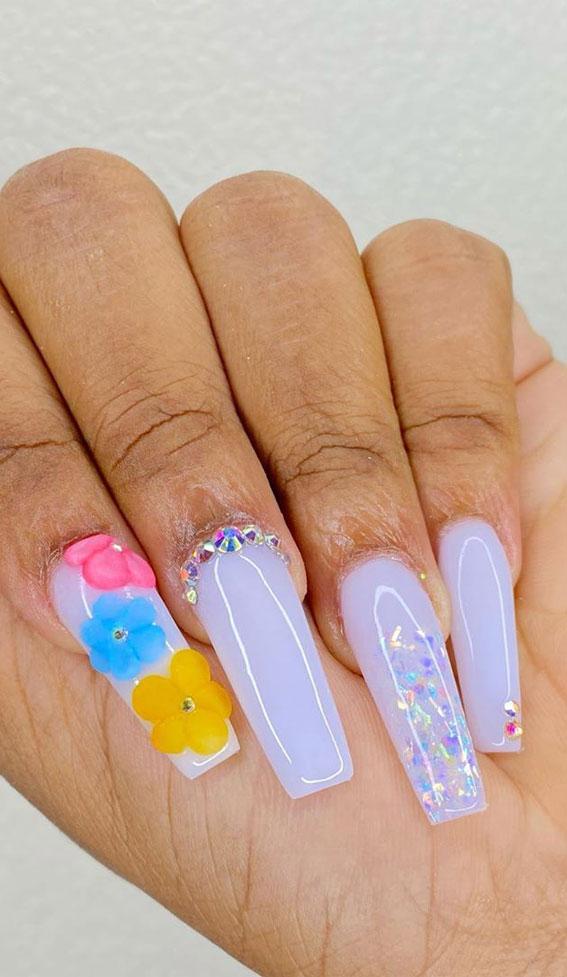 3d floral nails, long nails, acrylic nails, acrylic nails designs, images of acrylic nails designs, cute acrylic nails designs, acrylic nail designs gallery , acrylic nail designs for summer, acrylic nail designs 2020