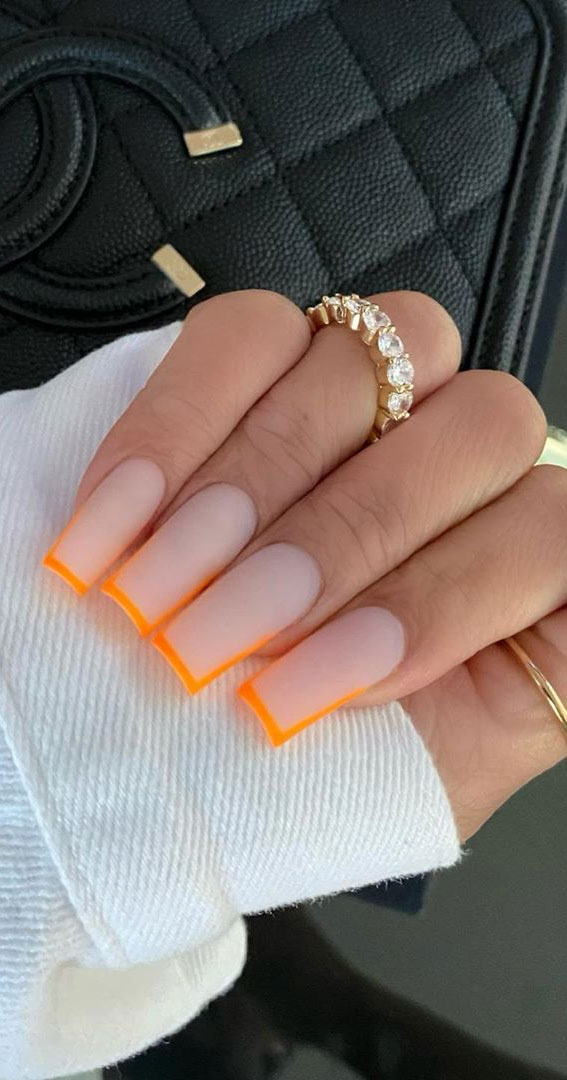 border nails, outline nails, orange outline nails, nails outline drawing, nail art, acrylic nails, long nails with outline, long nails with border