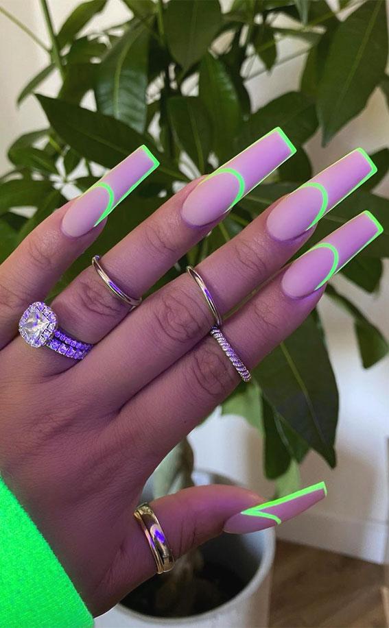 glow in the dark acrylic nails, border nails, outline nails, neon green outline nails, nails outline drawing, nail art, acrylic nails, long nails with outline, long nails with border