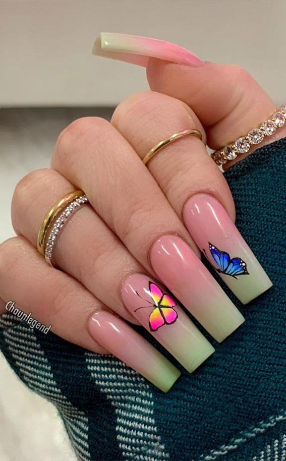 ombre nude nails , butterfly nails, acrylic nails, acrylic nails designs, images of acrylic nails designs, cute acrylic nails designs, acrylic nail designs gallery , acrylic nail designs for summer, acrylic nail designs 2020