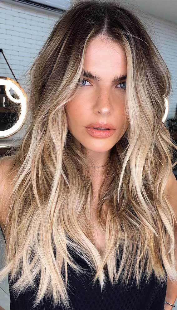 layered hair, blonde vanilla long hairstyle, low maintenance haircuts, low maintenance haircuts for curly hair, low maintenance haircuts for straight hair, low-maintenance hair color