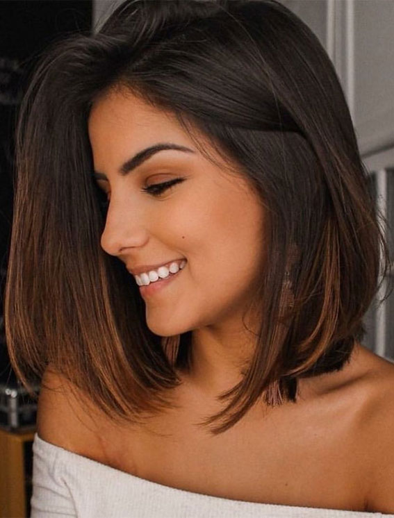 bob haircut, bob haircuts, brunette bob haircut, bob haircut with side part, brown hair, bob brown hair
