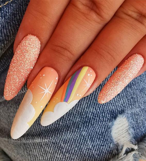 rainbow nails , nail art , nail designs, summer nails , summer nail ideas , fun summer nails