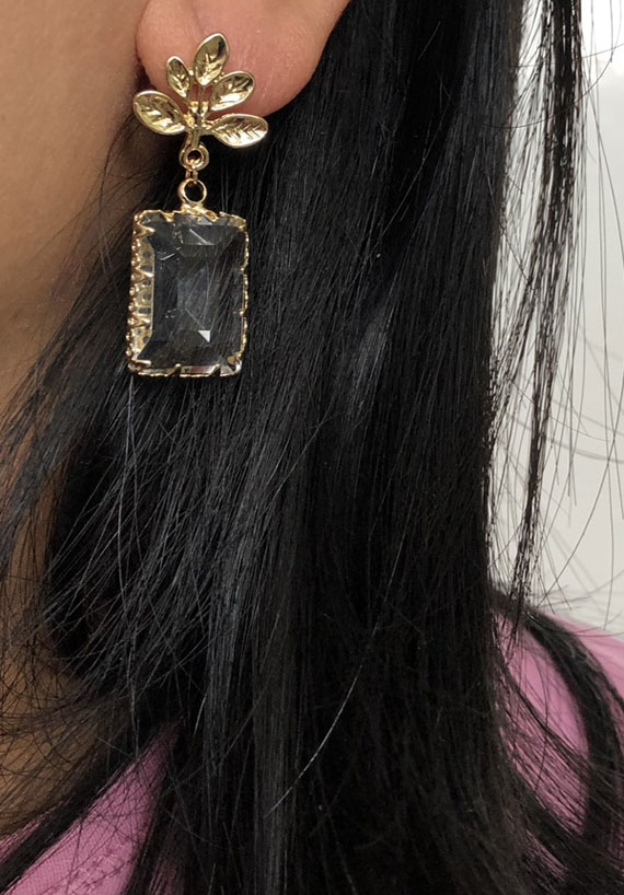 gold leaf earrings, leaf and clear glass drop earrings, earrings, leaf earrings