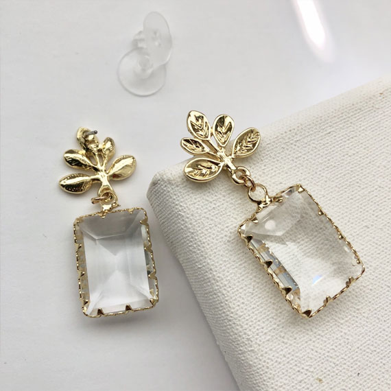 gold leaf earrings, leaf and clear glass drop earrings, earrings, leaf earrings
