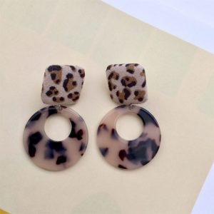 leopard print on fabric earrings, fabric earrings, leopard earrings, animal print earrings, leopard fabric earrings