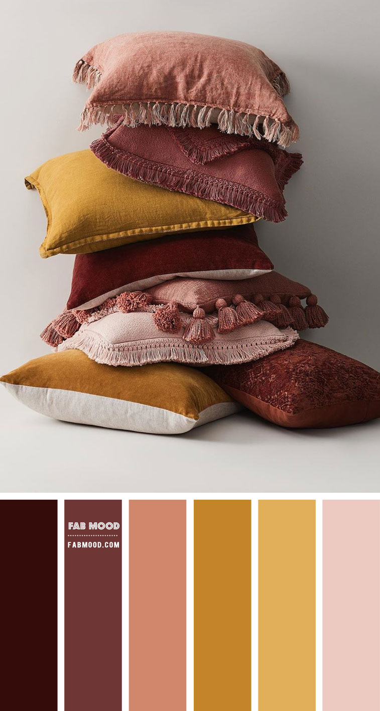 mustard and plum colour palette, mustard and plum colour scheme, plum and terracotta, mustard and terracotta colour combo