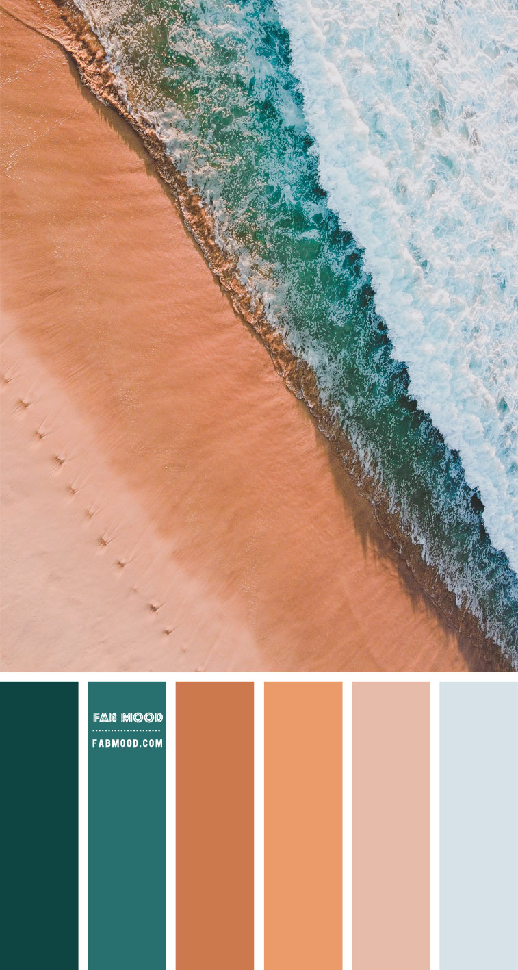 nude and green colour palette, green sea and terracotta, sand and green sea colour palette