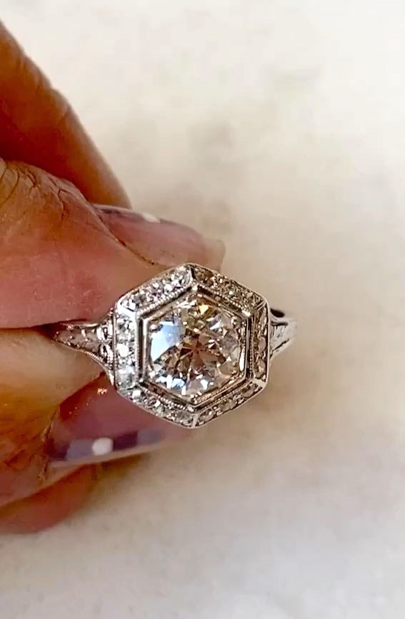 hexagon engagement ring, art deco engagement rings, best art deco engagement rings, art deco style engagement rings, art deco inspired engagement rings, art deco rings 1920, vintage engagement rings, vintage engagement rings 1920s